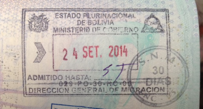 immigration stamp, sin Tarjeta