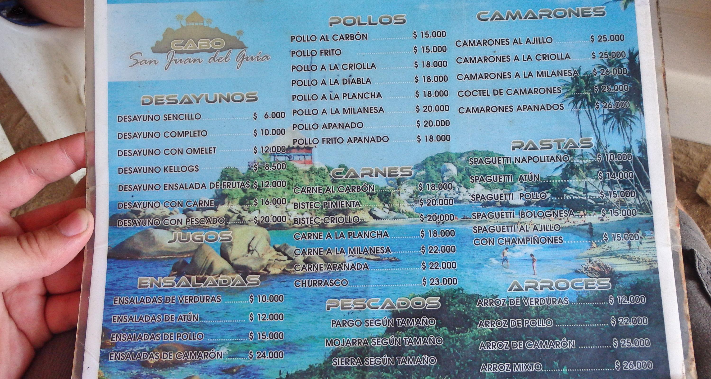Tayrona National Park Restaurant Menu