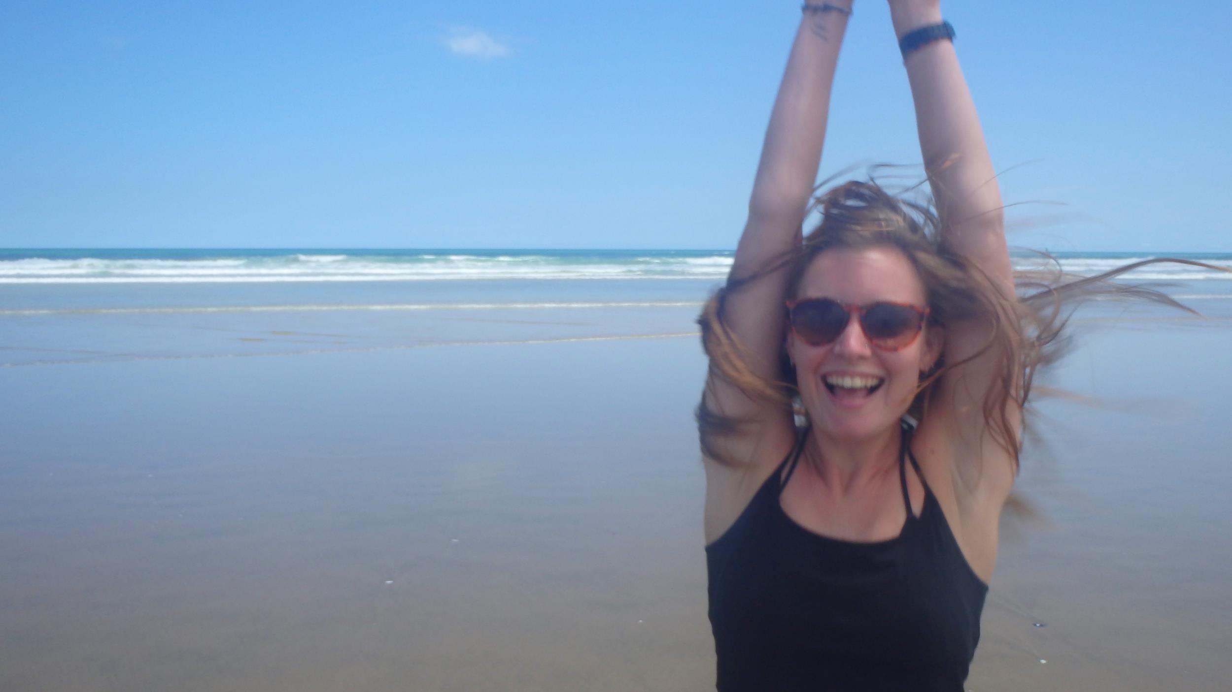 Sarah on 90 Mile Beach